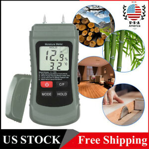 Digital Lcd Humidity Wood Moisture Meter Tester Firewood Electrode Detector Q3s4
