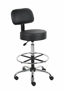 Medical Spa Drafting Stool With Back Stainless Steel Upholstered Black Color
