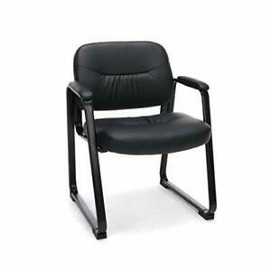 Bonded Leather Executive Side Chair With Sled Base Black Color Modern Design