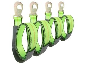 2 X 8 Green Wheel Lift Strap With Flat Snap Hook 4 Pack Lasso Reinforced Tow