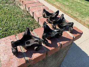 4 Antique Vtg Stove Casters Cast Iron Swivel Piano Moving Dolly Wheels Harper
