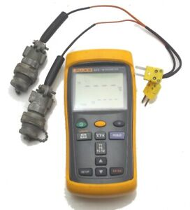 Fluke 52 Ii Thermometer Digital With Two Connections With Protective Cover Used