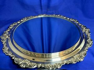 Wallace Silver Baroque Pattern Large Silverplate Plateau Or Display
