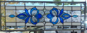 Stained Glass Transom Window Hanging 32 X 12 Incl Hooks