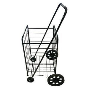 Single Basket Grocery Utility Shopping Cart easily Collapsible W Rolling Wheels