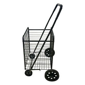Medium Single Basket Grocery Utility Shopping Cart Foldable With Rolling Wheels