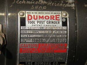 Dumore Tool Post Grinder 14 011 Model With Accessories