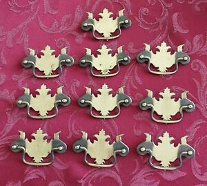 Chippendale Batwing Drawer Pulls 3 Bore Set Of 10 Gold Steel Antique