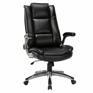 Executive Office Chair With Flip Up Arms High Back Adjustable Metal Base