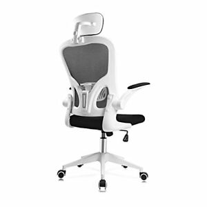 Ergonomic Mesh Office Chair Home Desk Chair Flip Up Arms And Adjustable Headrest