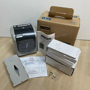 Euc Time Card Punch Clock Recorder W Cards Rack Keys Fuses Tested Model Tp 100a