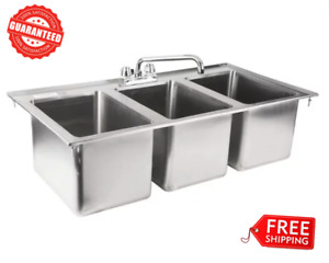 Commercial 3 Compartment Bowl Faucet Stainless Steel Drop in Sink 10 x 14 X 10