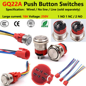 22mm Steel Led Illuminated Waterproof On off Power Button Switch Wired 18a 250v