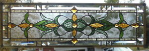 Stained Glass Transom Window Hanging 28 1 2 X 9 1 2 Incl Hooks Brass Edging