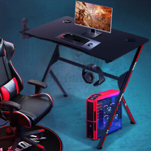 Ergonomic Gaming Computer Desk Table W Cup Holder headset Rack Office Racing