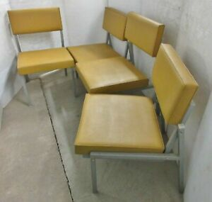 Vintage 1960s Industrial Cole Steel Office Tanker Arm Set Of 4 Yellow Chairs