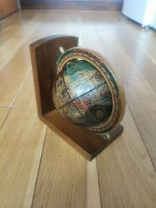 Vintage Old World Terrestrial Desk Top Globe Made In Italy Wooden