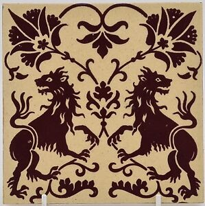 Victorian Fireplace Tile Minton Gothic Block Printed C1880 2