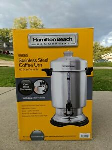 Hamilton Beach Commercial Coffee Maker Urn Make 60 Cups Guage One Hand Dispenser