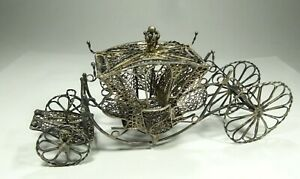 Antique Filigree Carriage With Moving Wheels Figurine Sterling Silver 925
