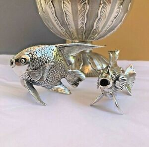 Highly Detailed Buccellati Pair Of Sterling Silver Sculptural Miniature Fish