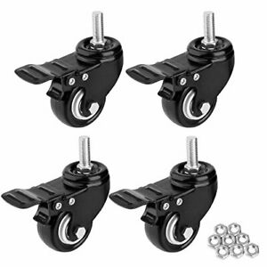 1 5 Threaded Stem Casters With Brake Heavy Duty Swivel Caster With M8x25