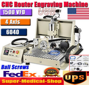 1500w 4axis Usb Cnc 6040 Router Milling Machine Engraver Engraving Cutter Usa