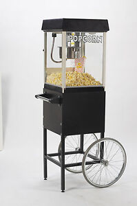 New Black Fun Pop 4 Oz Popcorn Machine Matching Cart