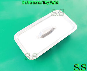 3 Instruments Tray W lid Surgical Veterinary 8x4x1 7