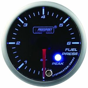 Prosport 52mm Premier Blue Super White Led Fuel Pressure Gauge Bar