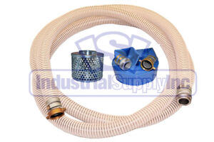 2 Fexible Water Suction 50 ft Discharge Hose Pin Lug Kit