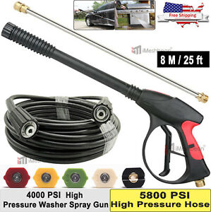 25 Ft 4000 Psi High Pressure Washer Hose Gun Wand Lance Spray Tips Turbo Nozzle