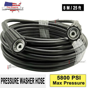25ft 5800psi High Pressure Power Washer Hose Extension Washer W M22 Coupler