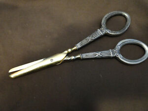 Grapes Scissors German 800 Sterling Silver Handles Made Circa 1880 Antique