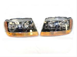 For 1999 2002 Jeep Grand Cherokee Laredo Sport Model Headlight W Bulb Wired Set