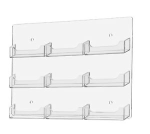 9 Pocket Wall Mount Business Card Gift Card Holder Display Lot Of 3