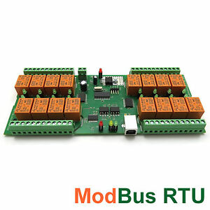 Modbus Rtu Usb 16 Channel Relay Module board For Home Automation