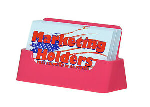 Qty 100 Pink Plastic Business Card Holder Display Stand