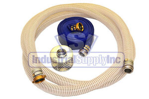 2 Fexible Water Suction Hose W 100ft Discharge Pinlug