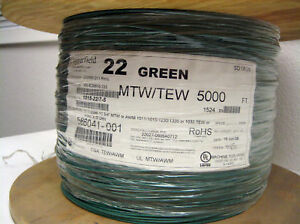 Green 22 Awg Hookup Wire Ul1015 5000 Rohs Compl