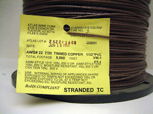Brown 22 Awg Hookup Wire Ul1015 5000 Rohs