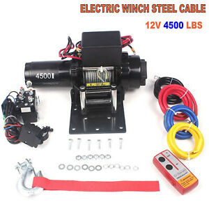 Wireless Electric Winch 4500lbs 12v Steel Rope 4wd Atv Utv Winch Towing Truck Us