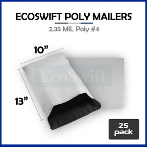 25 10x13 White Poly Mailers Shipping Envelopes Bags 2 35 Mil 10 X 13