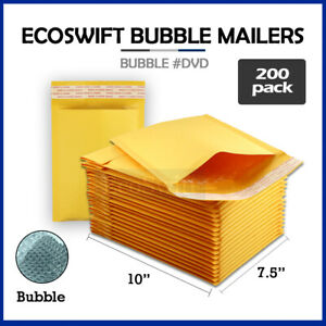 200 0 7 5x10 Kraft Bubble Mailers Padded Envelopes Dvd