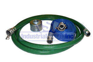 2 Trash Pump Water Suction 50ft Discharge Hose W camlock