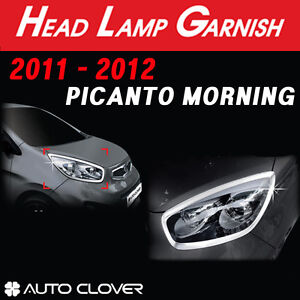 Chrome Head Light Lamp Trim 2p For 2011 2012 Kia Picanto