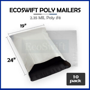 10 19x24 White Poly Mailers Shipping Envelopes Bags