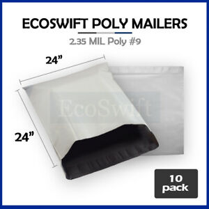 10 24x24 White Poly Mailers Shipping Envelopes Bags