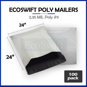 100 24x24 White Poly Mailers Shipping Envelopes Bags