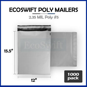 1000 12x15 5 White Poly Mailers Shipping Envelopes Bags